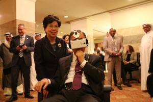UN Secretary-General Mr. Ban Ki-moon watches Clouds over Sidra VR film with Margaret Chan, Director General of the World Health Organisation looking on