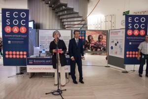 """Opening of Humanitarian Trade Fair at 2015 ECOSOC Humanitarian Affairs Segment. Credit: OCHA/Vincent Fung"""