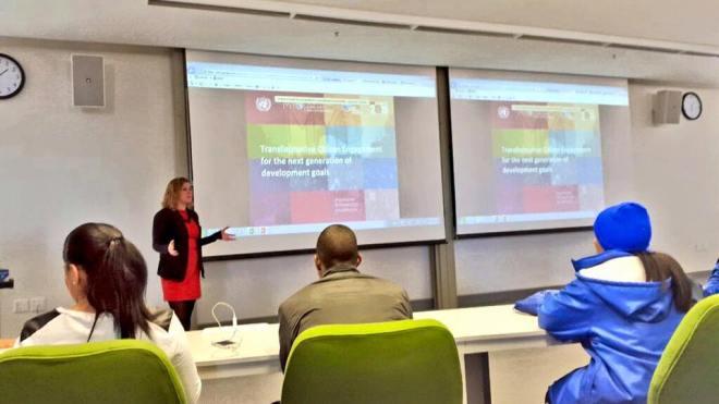 Kristin Gutekunst presenting the post-2015 process