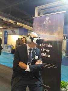 Ambassador William Lacy Swing, Director-General of the International Organization for Migration (IOM), is touched by Clouds Over Sidra